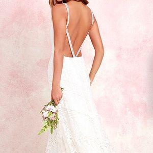 Lulu's Ivory Lace Maxi Dress
